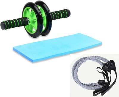 FITSY Double AB Roller Wheel with 2 Resistance Pull Tubes Ab Exerciser