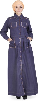 Momin Libas AD8914 Denim Solid Abaya No(Blue)