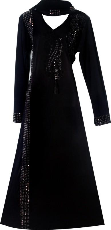 Justkartit JK4119 Lycra(Stretchable) Solid Burqa With Hijab(Black)