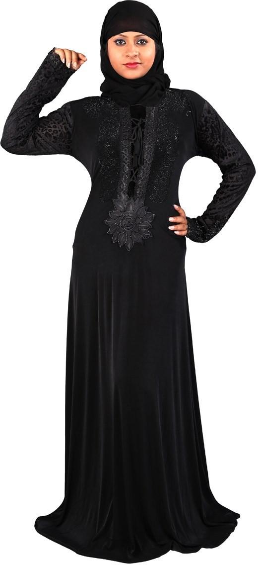 Hawai WB00079 Lycra Self Design Burqa With Hijab(Black)