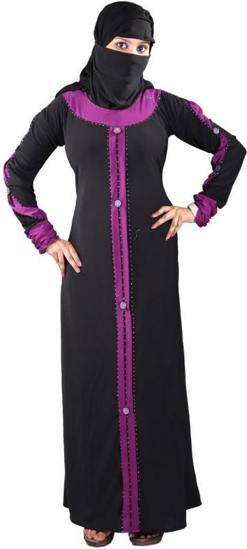 Hawai WB98 Lycra Self Design Burqa With Hijab(Black)