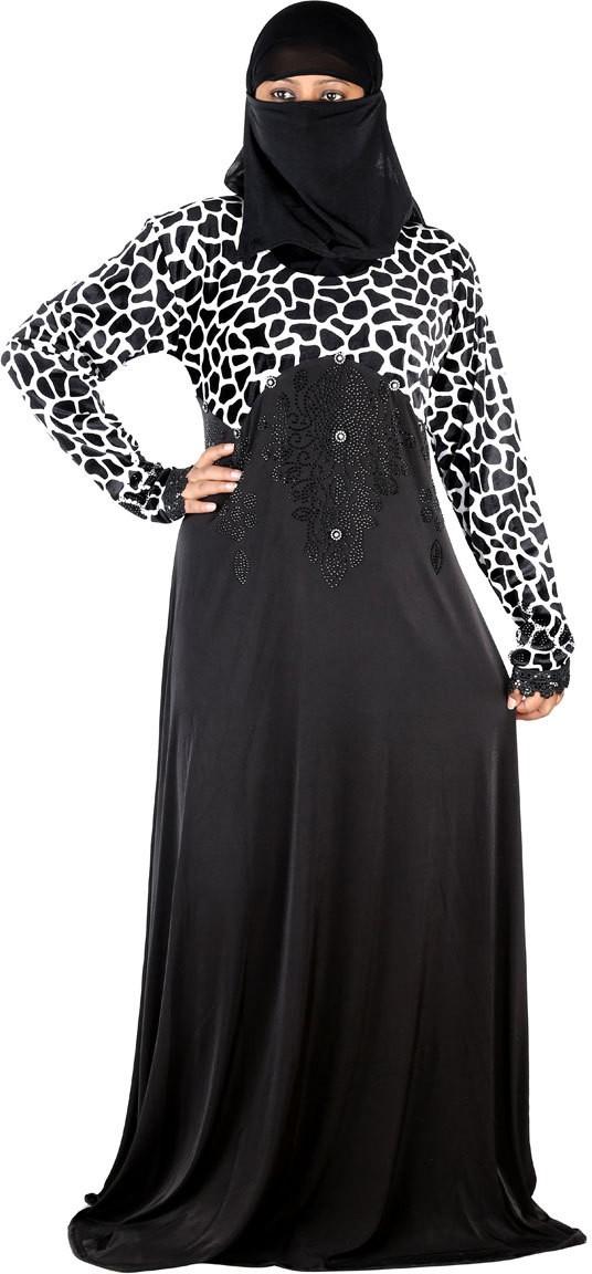 Hawai WB00159 Polyester Self Design Burqa With Hijab(Black, White)