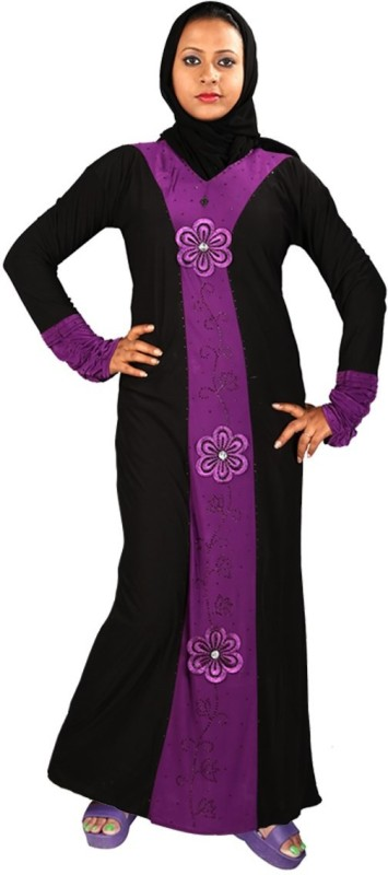 Hawai WB00075 Lycra Self Design Burqa With Hijab(Black)