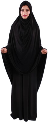 Muslimkart AY8970-10 Lycra Solid Abaya Yes(Black)