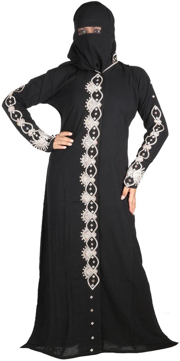 Hawai WB00154 Polyester Self Design Burqa With Hijab(Black)