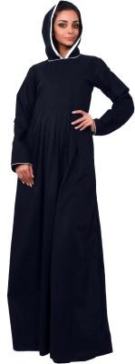 Islamic Attire R_AB_ISA_0025_blue 100% Cotton Twill Solid Abaya No