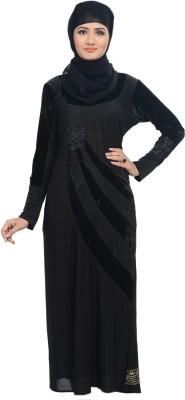 Nargis NARBUR17 Lycra, Crepe Self Design Burqa Yes