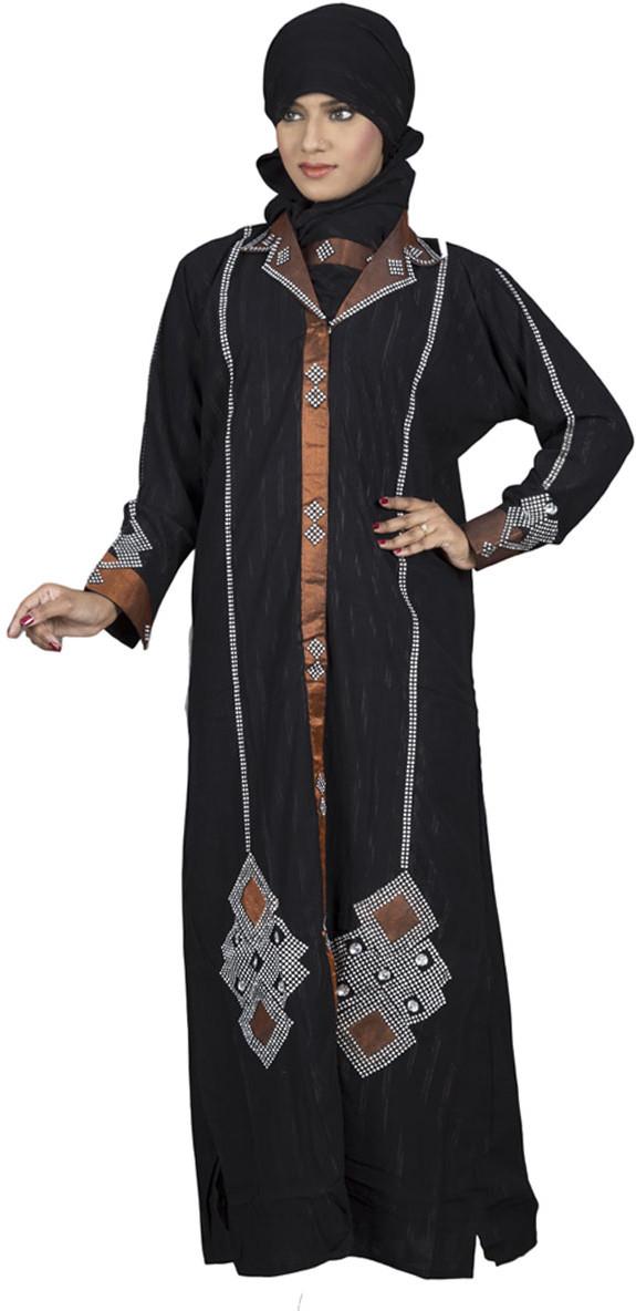Hawai WB00025 Crepe Self Design Burqa With Hijab(Black)