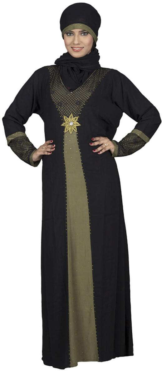 Hawai WB00037 Lycra Self Design Burqa With Hijab(Black)