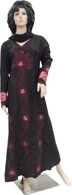 Shamim Collection FKBQ01006 print satin, pilot Solid Abaya Yes