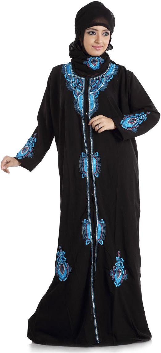 Hawai WB00003 Crepe Self Design Burqa With Hijab(Black)