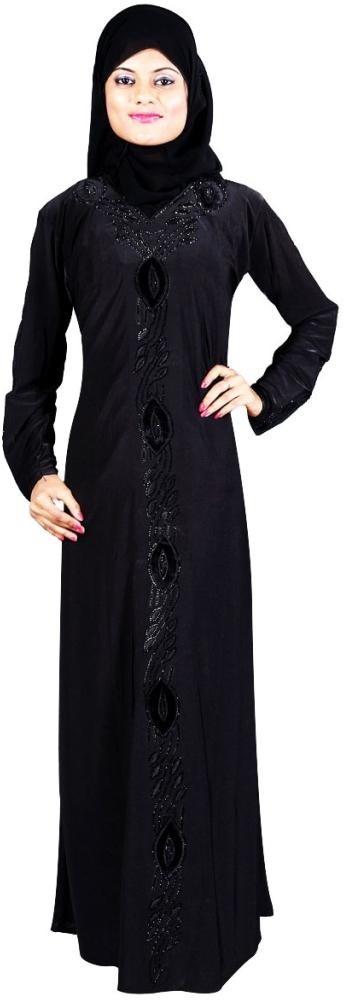 Hawai WB00052 Lycra Self Design Burqa With Hijab(Black)