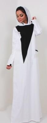 Islamic Attire MAHVEEN Cotton Twill Solid Abaya No