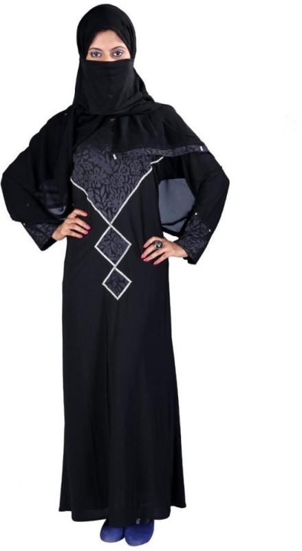 Hawai WB00056 Lycra Self Design Burqa With Hijab(Black)