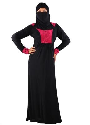 Hawai WB136 Polyester Self Design Burqa Yes