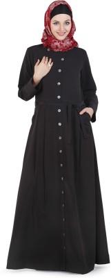 Momin Libas AC2014 poly crepe Solid Abaya No(Black)