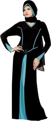 Saree Exotica 14380 Lycra, Crepe Self Design Abaya Yes(Black)