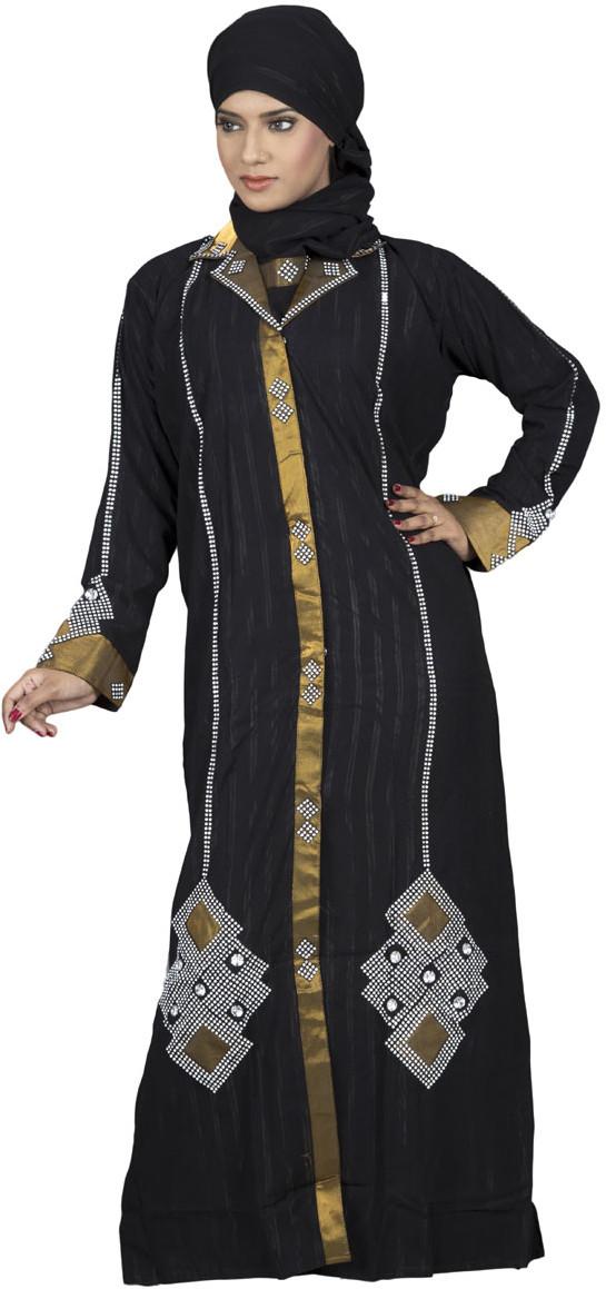 Hawai WB00026 Crepe Self Design Burqa With Hijab(Black)