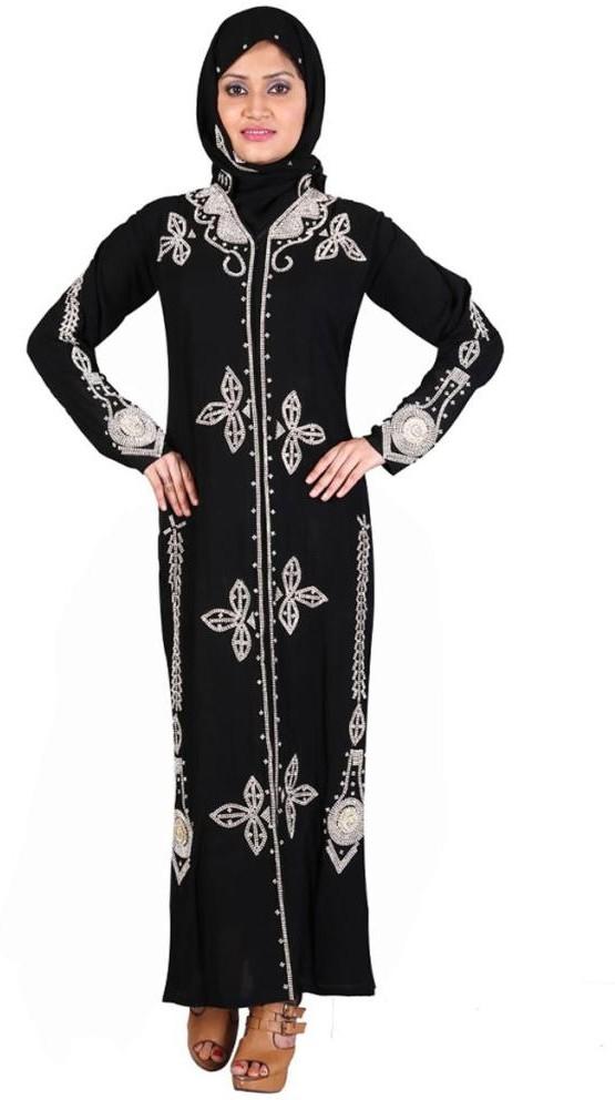 Hawai WB00064 Lycra Self Design Burqa With Hijab(Black)