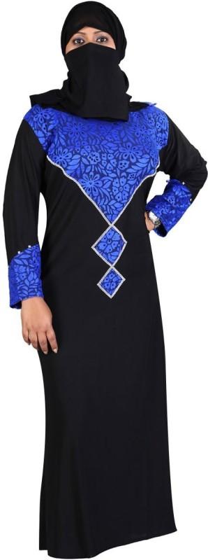Hawai WB00054 Lycra Self Design Burqa With Hijab(Black)