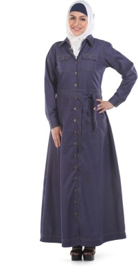 Momin Libas A 33-14 Denim Abaya No(Blue)