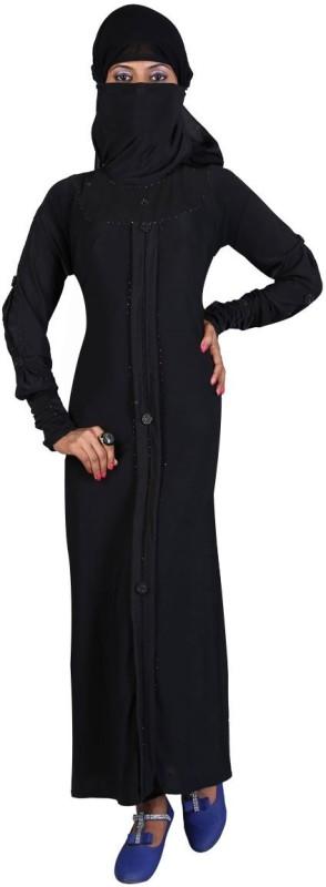 Hawai WB00059 Lycra Self Design Burqa With Hijab(Black)