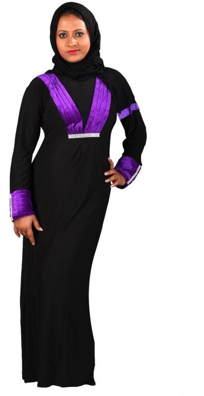 Hawai WB00081 Firdous Self Design Burqa With Hijab(Black)
