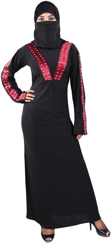 Hawai WB00090 Lycra Self Design Burqa With Hijab(Black)