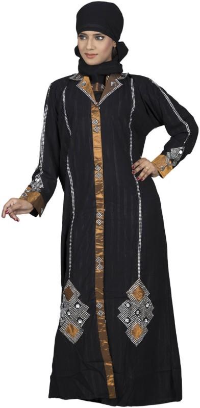 Hawai WB00024 Crepe Self Design Burqa With Hijab(Black)