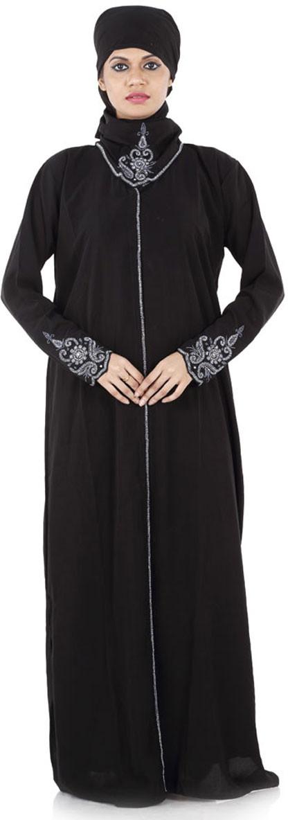 Hawai WB00009 Crepe Self Design Burqa With Hijab(Black)