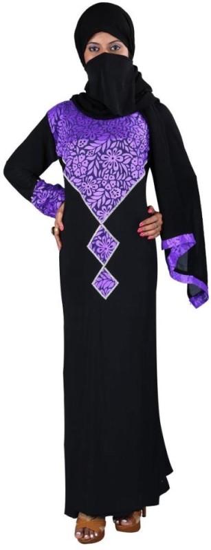 Hawai WB00055 Lycra Self Design Burqa With Hijab(Black)