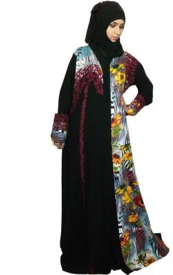 Pehnawa Black Aari Georgette Printed Abaya No