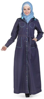 Momin Libas AD9014 Denim Solid Abaya No(Blue)