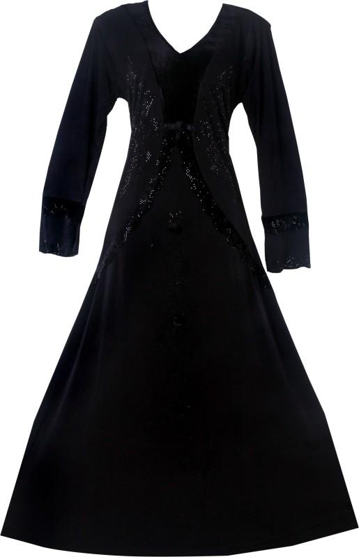 Justkartit JK4114 Lycra(Stretchable) Solid Burqa With Hijab(Black)