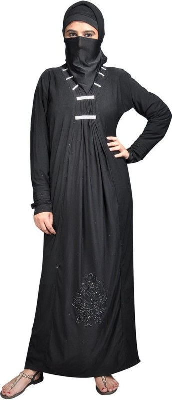 Hawai WB113 Lycra Self Design Burqa With Hijab(Black)