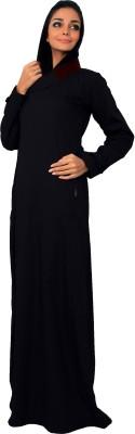 Islamic Attire R_AB_ISA_0020_blue 100% Cotton Twill Solid Abaya No