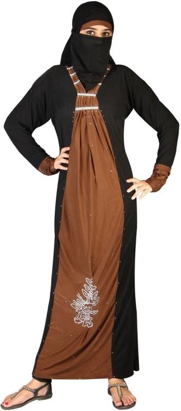 Hawai WB112 Lycra Self Design Burqa With Hijab(Black, Brown)