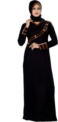 Saree Exotica 3055BK1536 Lycra Printed Abaya Yes