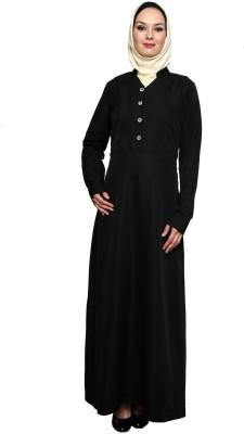 Momin Libas AC16316 Poly Crepe Solid Abaya No(Black)