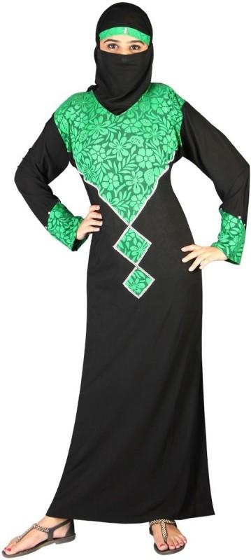 Hawai WB116 Lycra Self Design Burqa With Hijab(Black, Green)
