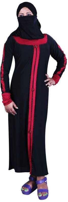 Hawai WB00053 Lycra Self Design Burqa With Hijab(Black)