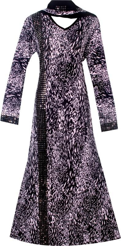 Justkartit JK4117 Lycra(Stretchable) Animal Print Burqa With Hijab(Black)
