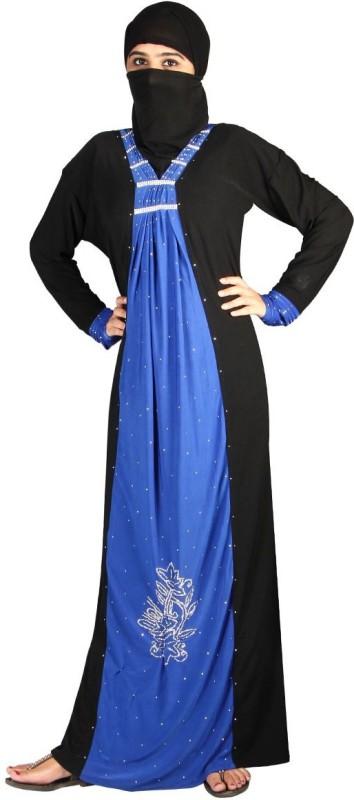 Hawai WB111 Lycra Self Design Burqa With Hijab(Black, Blue)