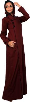 Islamic Attire R_AB_ISA_0020_maroon 100% Cotton Twill Solid Abaya No