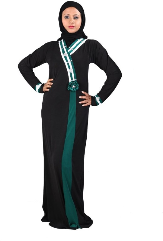 Hawai WB00074 Crepe Self Design Burqa With Hijab(Black)