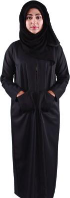 Muslimkart 16M9677 Cotton Twill Solid Abaya Yes