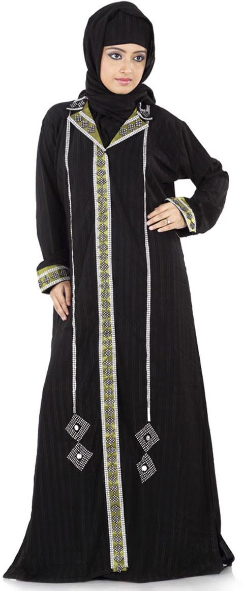 Hawai WB00018 Crepe Self Design Burqa With Hijab(Black)
