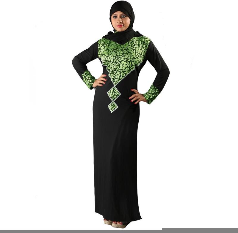 Hawai WB127 Polyester Self Design Burqa With Hijab(Black)