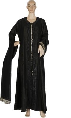 Hijab Studio HSBSK063 Satin with Chiffon Koti Solid Burqa Yes
