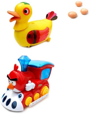 Smartkshop Egg Laying Funny Duck Bump and Angry Bird train  Battery Operated Toy Animal For Kids Gift Toy